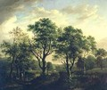 Wooded river landscape with figures and cattle - Alexander Nasmyth