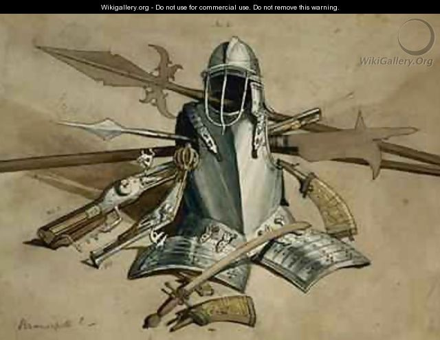 Study of Armour and Weapons at Brancepeth Castle Durham - William Andrews Nesfield