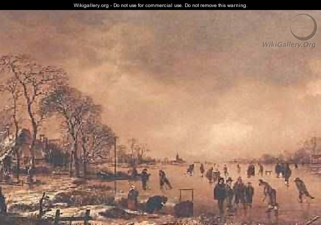 Wooded river landscape in Winter - Aert van der Neer