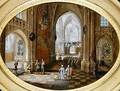 A Cathedral interior with a mass - Pieter the Younger Neefs