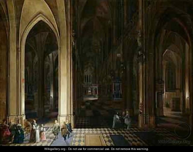 The Interior of Antwerp Cathedral by Candle and Torchlight - Pieter, the Elder and Younger Neefs