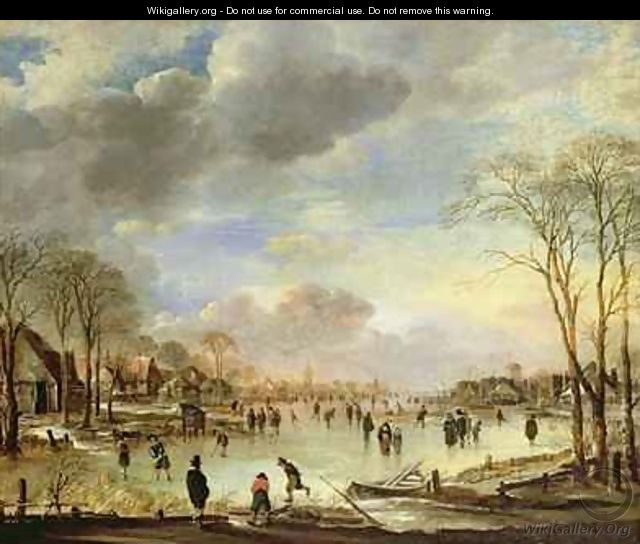 Winter Sports on a Frozen Canal - Aert van der Neer