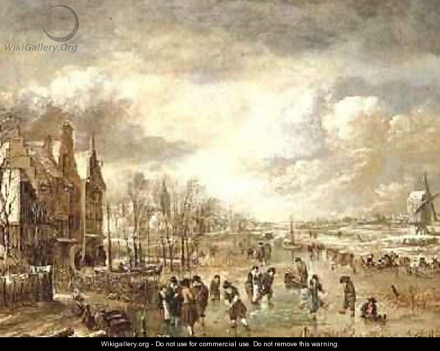 Winter Landscape with Skaters - Aert van der Neer