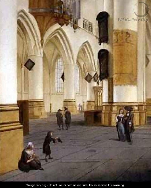 View of the south aisle of the church of St Bavo Haarlem - Isaak Nickelen