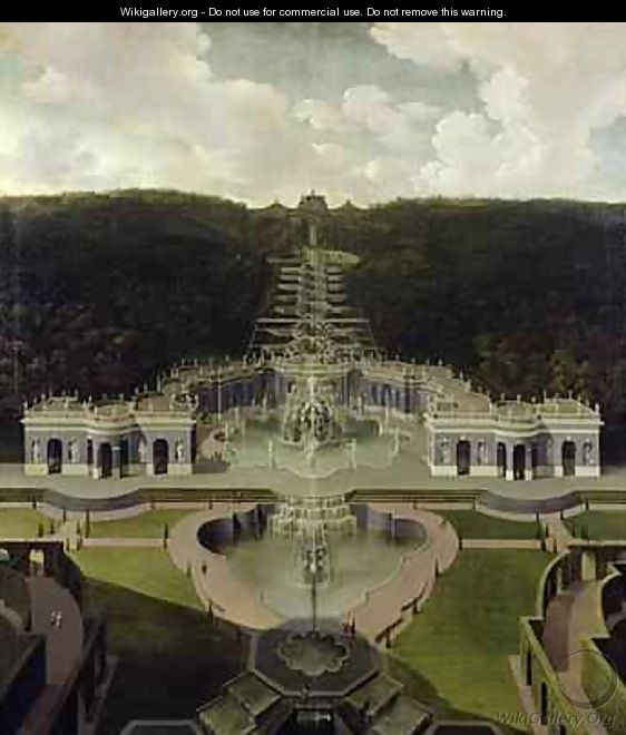View from the Grotto with Fountains from the Cascades to the Octagon after 1716 - Jan van Nickelen