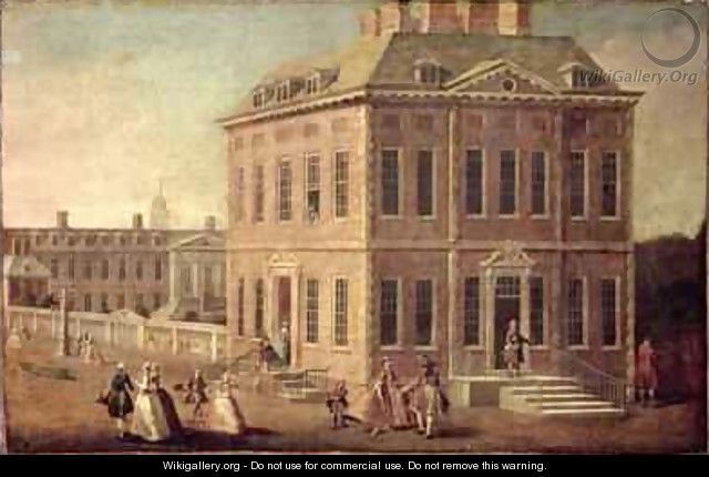 View of Ranelagh House and Gardens and the Chelsea Hospital with figures walking in the foreground - Joseph Nickolls