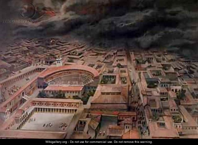 The Eruption of Vesuvius at Pompeii in 79 AD - (after) Niccolini, Antonio