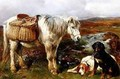 Highland Pony with Dogs - John Sargeant Noble, R.B.A.