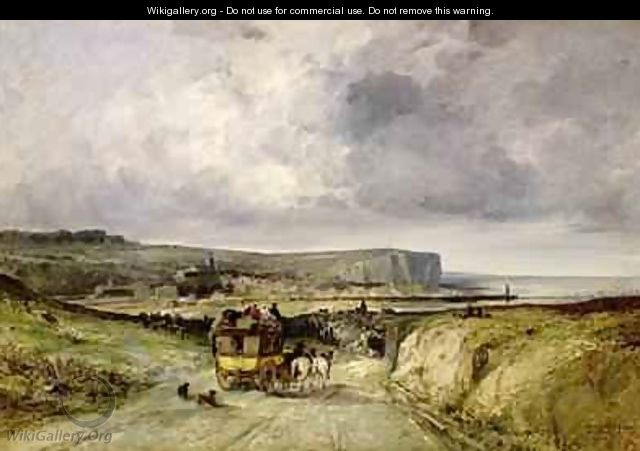 Arrival of a Stagecoach at Treport 1878 - Jules Achille Noel