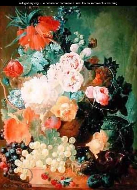 Still Life with fruit, flowers and birds nest - Jan van Os
