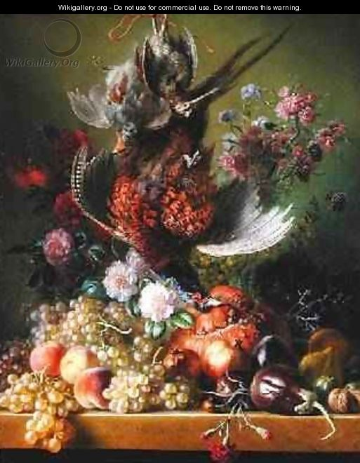Still Life with Pheasant and Flowers, 1838-39 - Jan van Os