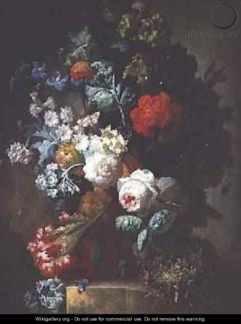 Still Life, Flowers and birds nest - Jan van Os