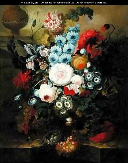 Carnations, Morning Glory, Roses, Auriculas, Hyacinth and Other Flowers with a Birds Nest on a Marble Ledge - Jan van Os