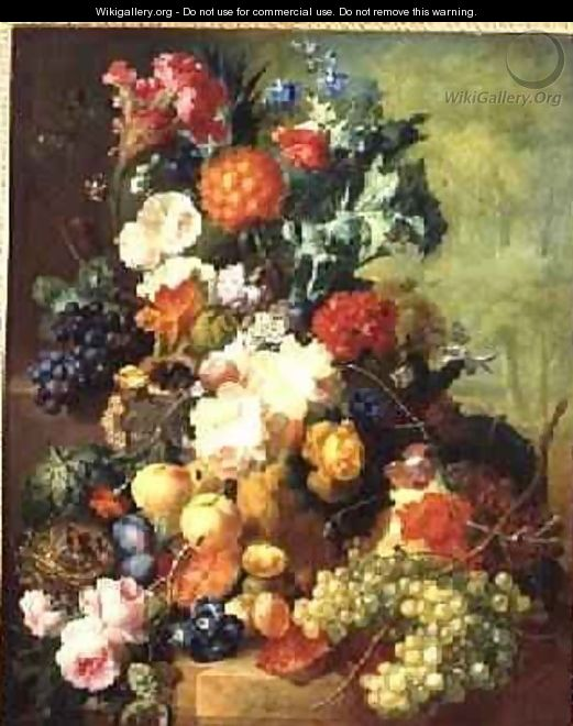 Still Life with Flowers and Fruit - Jan van Os