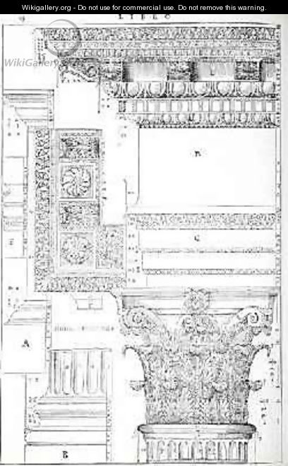 Decorative details from the Tempio of Trajan, illustration from a facsimile copy of I Quattro Libri dellArchitettura written by Palladio, originally published 1570 - (after) Palladio, Andrea