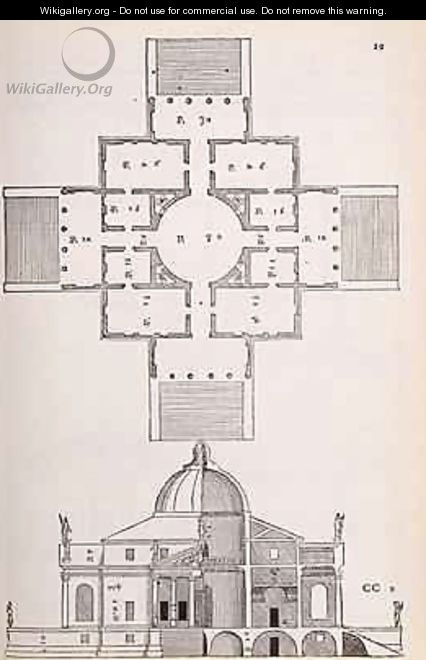 Plan and cross section of Villa Rotunda, illustration from a facsimile copy of I Quattro Libri dellArchitettura written by Palladio, originally published 1570 - (after) Palladio, Andrea