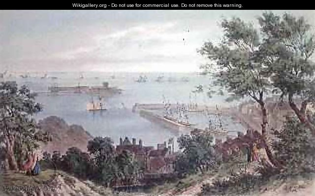 The Royal Squadron at Anchor, 2nd September 1846, from the Visit of Queen Victoria in Jersey, engraved by H. Walter, 1847 - Philip John Ouless