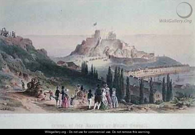 Arrival of Her Majesty at Mount Orgueil, 3rd September 1846, from the Visit of Queen Victoria in Jersey, engraved by H. Walter, 1847 - Philip John Ouless