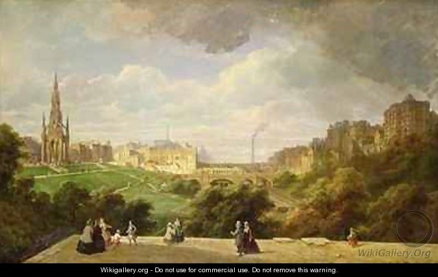 View of Edinburgh, the Walter Scott Monument - Pierre Justin Ouvrie