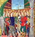 Historiated initial N depicting St. Maurice and the Theban Legion, Lombardy School, c.1499-1511 - Alessandro Pampurino