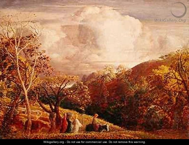 Landscape, figures and cattle - Samuel Palmer