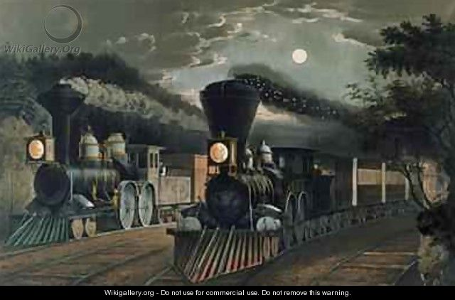 The Lightning Express Trains, pub. by Currier and Ives, New York, 1863 - Frances Flora Bond (Fanny) Palmer