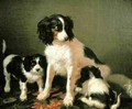 A spaniel with two puppies - Filippo Palizzi