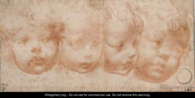 Study of Four Childrens Heads, c.1522-23 - Girolamo Francesco Maria Mazzola (Parmigianino)