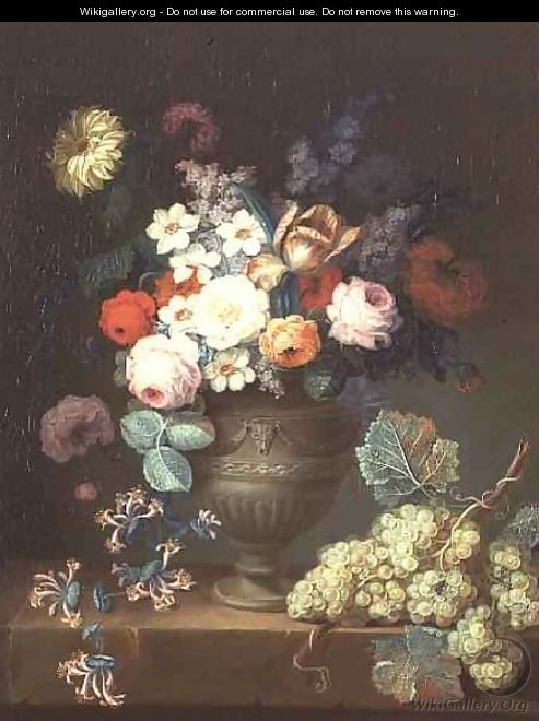 Still life of flowers in a classical vase with a bunch of grapes, 1768 - Philippe Parpette