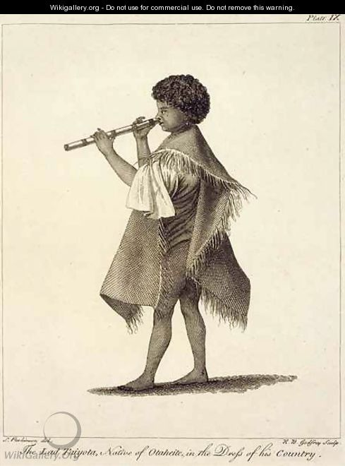 The Lad Taiyota, Native of Otaheite, in the Dress of his Country, engraved by R.B. Godfrey, plate 9 from Journal of a Voyage to the South Seas, pub. 1823 - Sydney Parkinson