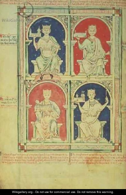 Four Kings of England William I, William II, Henry I and Stephen, from the Historia Anglorum, 1250 - Matthew Paris