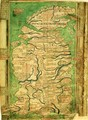 Cotton Claudius DVI, f.12v One of the earliest detailed maps of Great Britain extant, by Matthew Paris, c.1250 - Matthew Paris