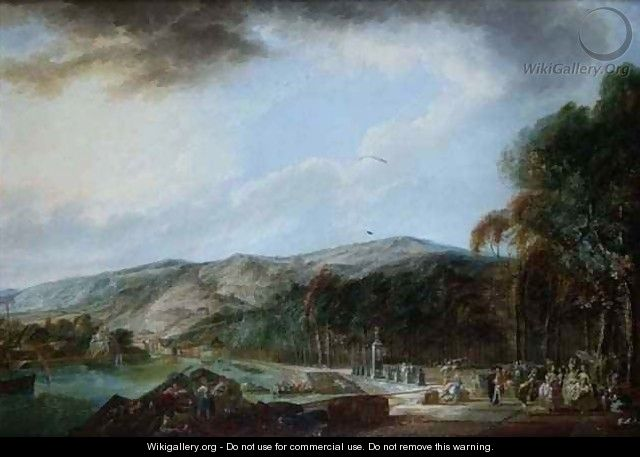 View of a harbour with numerous figures - Linton Park