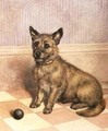 Waiting to Play, a Cairn terrier with a ball - Frank Paton