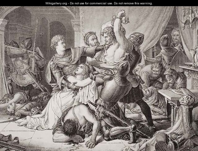 The seizure of Roger de Mortimer 1287-1330 in Nottingham Castle, 19th October 1330, from Illustrations of English and Scottish History Volume I - Sir Joseph Noel Paton