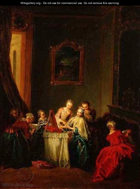 The Toilet Young woman at her Dressing Table - Jean-Baptiste Joseph Pater