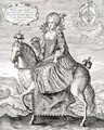 Equestrian Portrait of Anne of Denmark 1574-1619 engraved by the artist, pub. by Compton Holland, 1616 - Simon de Passe