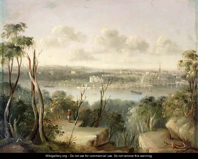 Sydney from St. Leonards on the north bank of Port Jackson, 1845 - George Edward Peacock