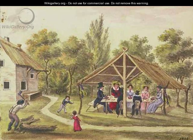 Afternoon tea at a tavern from the journal of Carl Baumann written 1813-25, 1822 - Franz Paumgarrten