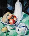 Still Life with Teapot and Fruit on a green Tablecloth, c.1913 - Samuel John Peploe