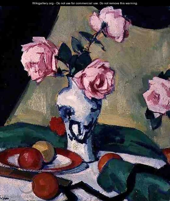 Still Life with Japanese Jar and Roses, c.1919 - Samuel John Peploe