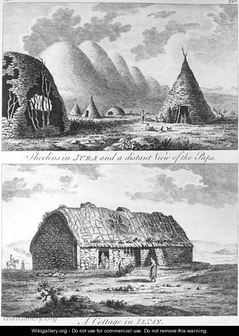 Sheelins in Jura and a distant view of the Paps and A Cottage of Islay, from A Tour in Scotland, and voyage to the Hebrides 1772 - Thomas Pennant