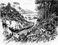 The Jungle: The Old Railway, plate VIII from The Panama Canal by Joseph Pennell, 1912 - Joseph Pennell
