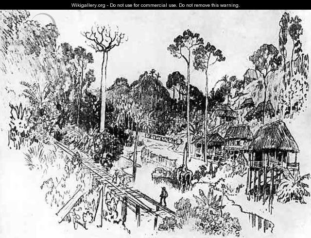 The Native Village, plate IX from The Panama Canal by Joseph Pennell, 1912 - Joseph Pennell