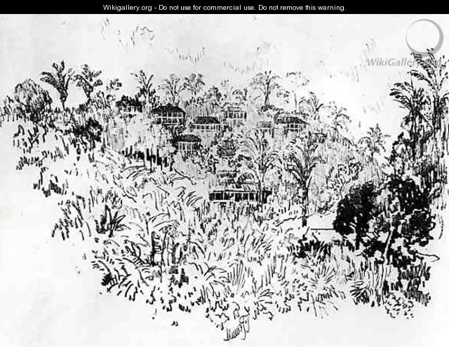 The American Village, plate X from The Panama Canal by Joseph Pennell, 1912 - Joseph Pennell