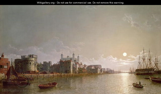 The Thames by Moonlight with Traitors Gate and the Tower of London - Henry Pether