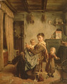Cache-Cache, an interior with mother and child - Charles Petit