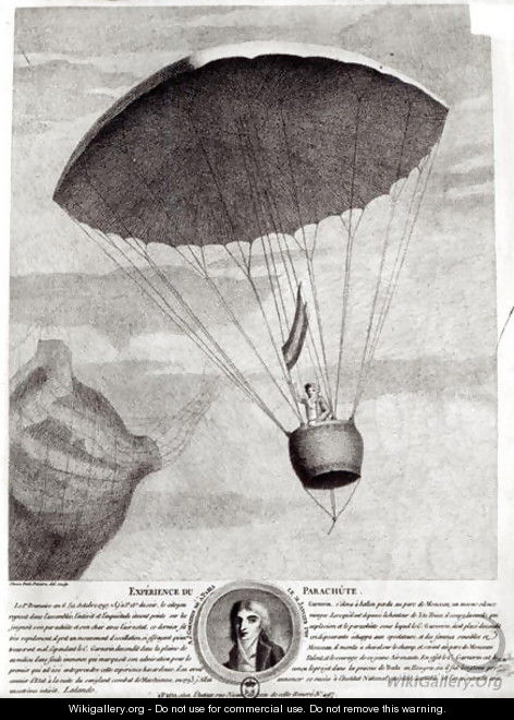 The First Parachute Descent by Andre Jacques Garnerin 1770-1823 over Parc Monceau, 22nd October 1797 - Simon Petit