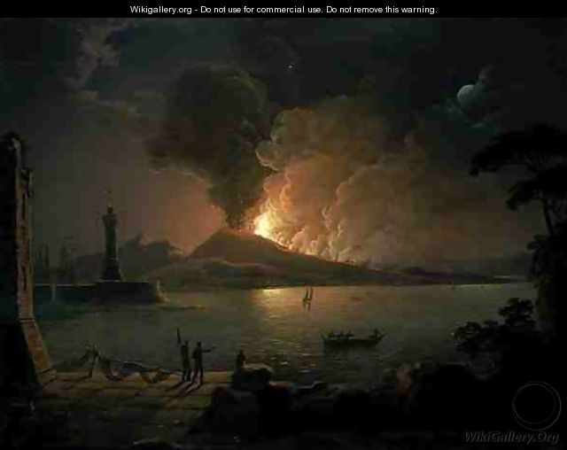 A View of Mount Vesuvius Erupting - Abraham Pether