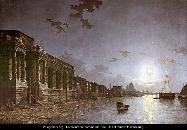 A View of the Thames - Abraham Pether